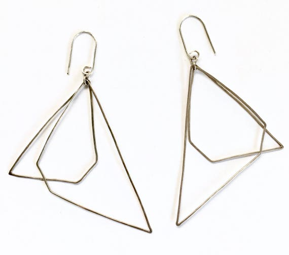 Asymmetrical Geometric Sterling Silver Lightweight Earrings