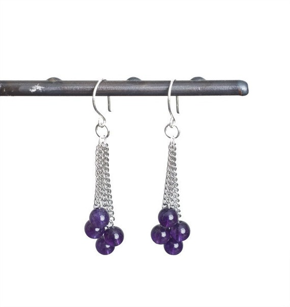 Dark Purple Amethyst Earrings