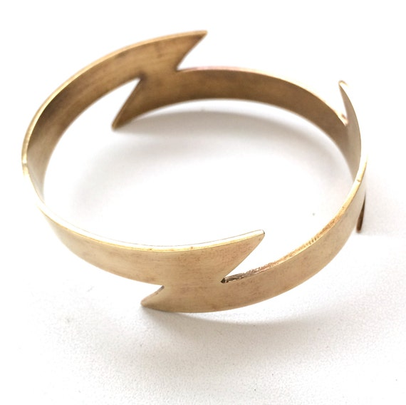 Thick brass infinity lightning bolt bangle