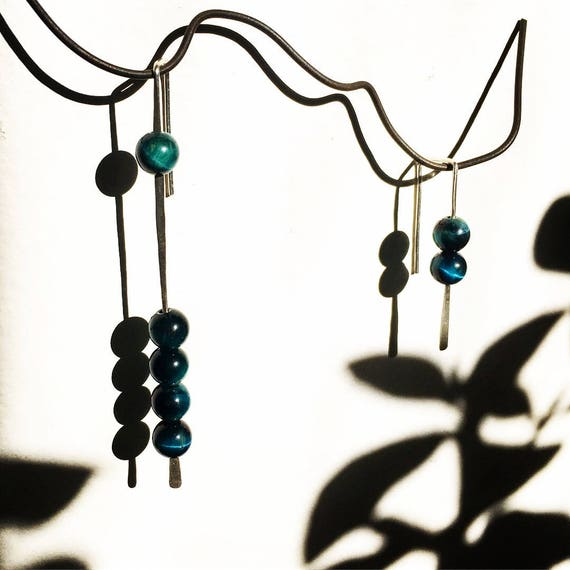 Dark Teal Tiger Eye Unmatching Pair Sterling Silver Minimalist Earrings