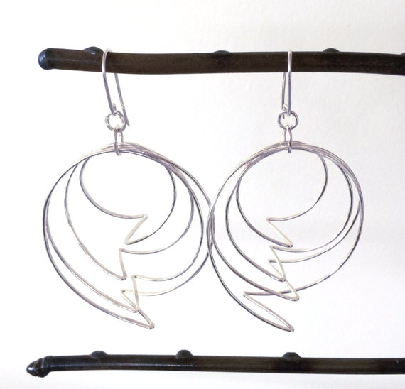Lightning Bolt Sterling Silver Hoop Earrings