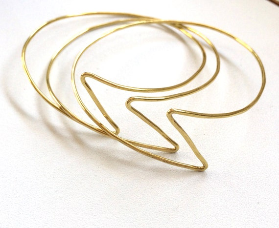 Set of 3 Brass Lightning Bolt Bangle Bracelets Handformed Hammered Thin Lightweight