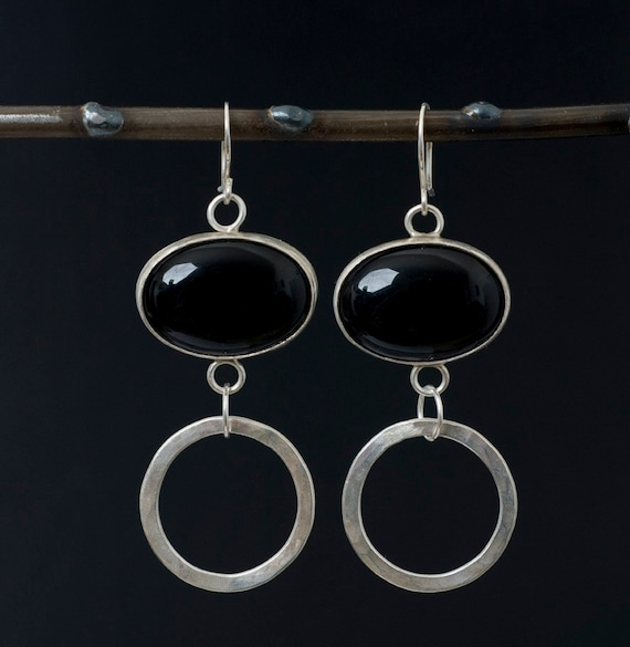 Sterling Silver Hoop and Oval Onyx Earrings