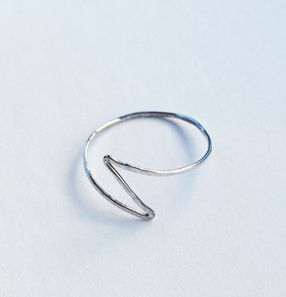 Sterling Silver Lightning Bolt Ring Delicate Handformed Hammered Lightweight