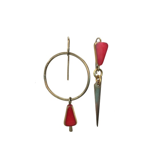 Red antique German bead and brass mismatched earrings