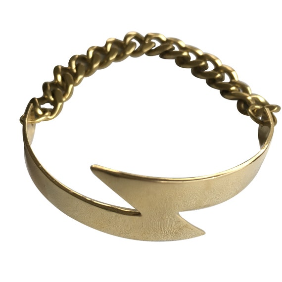 Heavy Brass Lightning Bolt and Chain ID Tag Style Bracelet