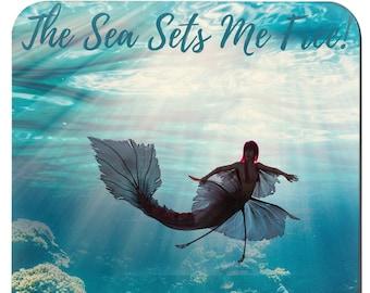 The Sea Sets Me Free Set Of 4 Coasters / Sea Turtle Coaster / Mermaid Coaster / Seahorse Coaster / Spoon Rest  / Dolphin Coaster /
