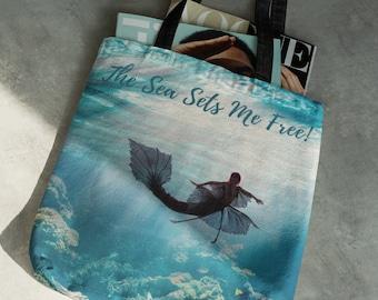 Mermaid Tote Bag / Ocean Beach Bag / The Sea Sets Me Free Bag / Mermaid Lover Gift / Ocean Lover Gift / Fantasy Beach Bag / Shopping Bag