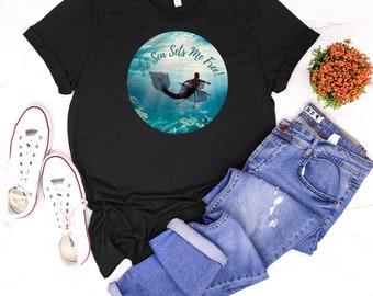 The Sea Sets Me Free Jersey Short Sleeve Tee / Mermaid T-Shirt / Beach T-Shirt  / Ocean  T-Shirt / Soft T-Shirt / Bella+Canvas Shirt