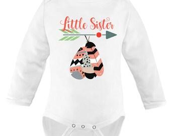 Little Sister Bodysuit / shirt Announcement, Boho Feather Arrow.
