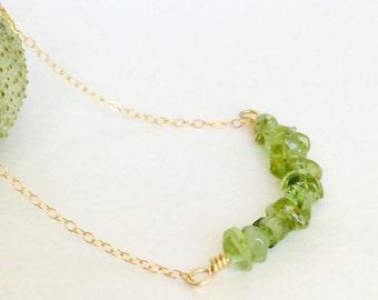 Lei Maile Peridot Bar Necklace