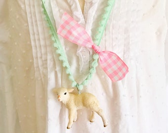 Lamb Necklace. Kids Necklace. Girls Necklace. Girls Lamb Necklace. Girls Jewelry. Mary Had a Little Lamb Necklace. Gingham Necklace.