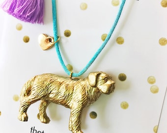 Girls Necklace. Dog necklace. Girls Jewelry. Kids Necklace. Kids Dog Necklace. Dog Lover Gift. Pet remembrance. Kids gift. St Bernard.