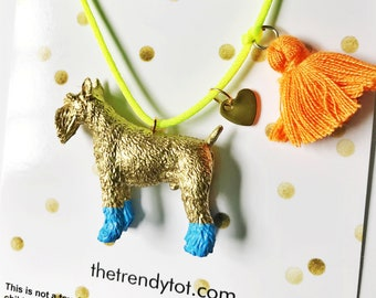 Dog Necklace. Kids Dog Necklace. Girls Dog Necklace. Boho Style Kids Necklace. Girls Tassel Necklace. Kids Necklace. Girls Charm Necklace.