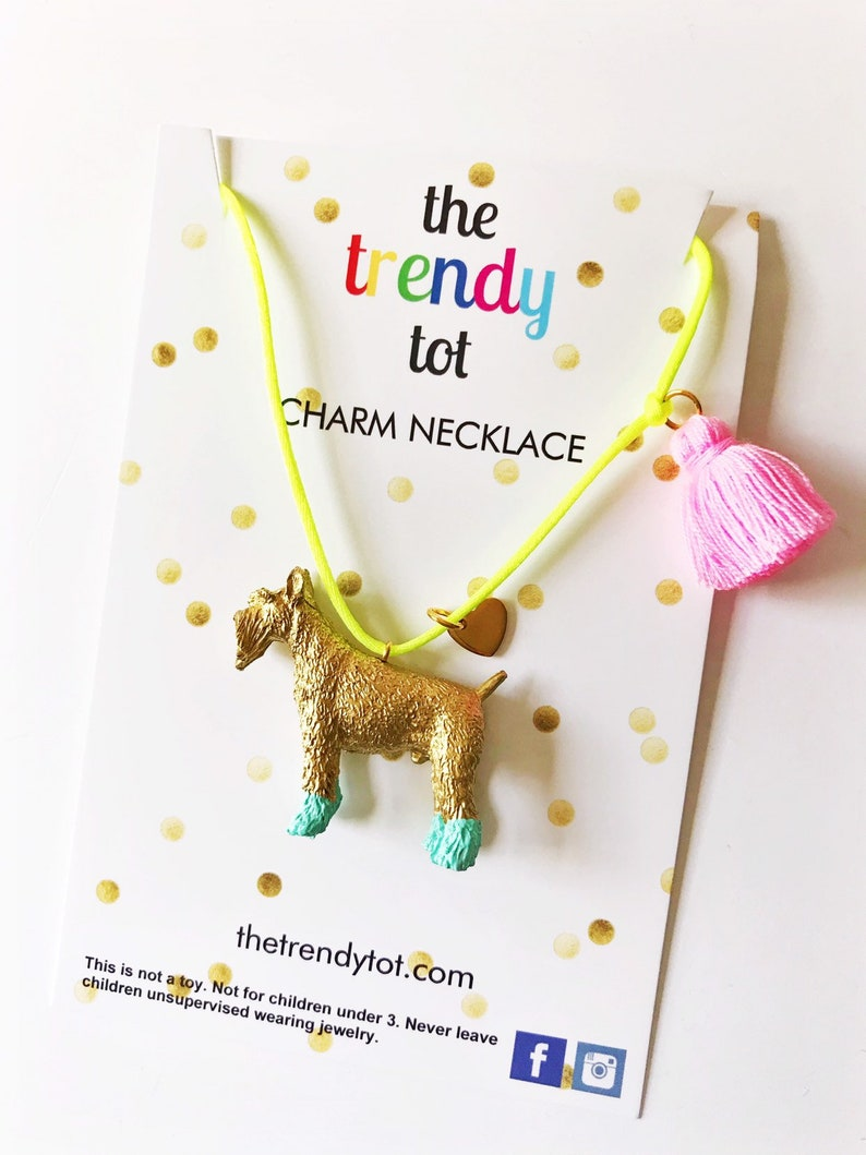 Dog Schnauzer Necklace in Gold and Aqua with Pink Tassel and Heart Charm for Kids and Girls