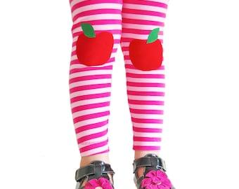 Apple Leggings, Baby Girl Leggings, Knee Patch Pink Stripe Leggings, Toddler leggings