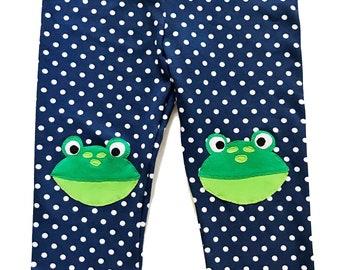 Frog Leggings for Kids in Navy Blue Polka Dot