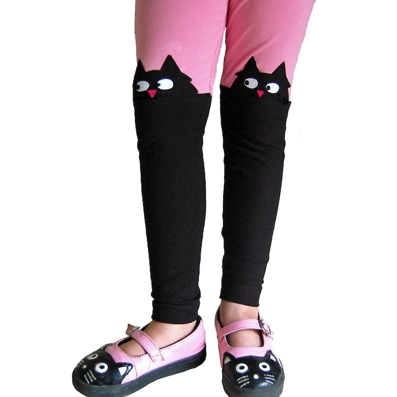 d6e61f07f2f9d4 Girls Kitty Cat Applique Leggings in Pink and Black | Etsy