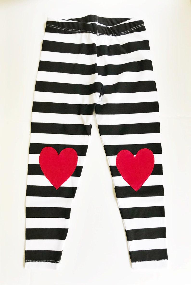 9f91502b1403d Valentines Girls Heart Leggings / Black and White Striped | Etsy