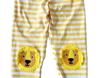 Lion Kneepatch Leggings in Yellow Stripe, King of the Jungle Leggings