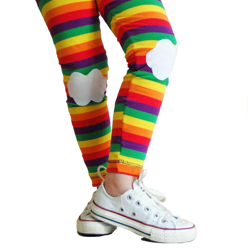 cef0947d811c2 Kids Rainbow Striped Leggings with Cloud Kneepatches | Etsy