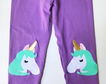 Unicorn Knee patch Leggings in Purple