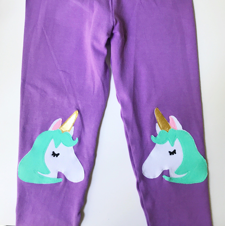 a109a5c5453b0 Girls Unicorn Knee patch Leggings in Purple | Etsy