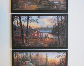 Cabin Trio Rustic Lodge Theme wall decor plaques country log cabins pictures