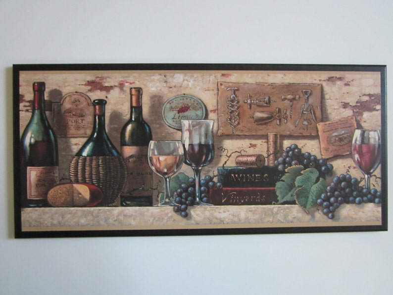 Wine Kitchen Wall Decor Plaque Tuscany Italian French Bistro, Port Wine And  Cheese