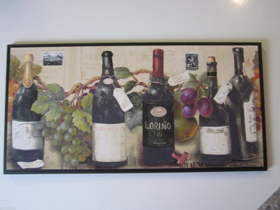 Wine Lovers Kitchen Wall Decor Plaque Colorful Grapes Tuscany   Etsy