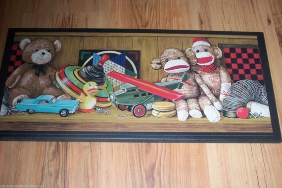 Sock Monkey Antique Toys Wall Decor plaque country picture vintage toy sign