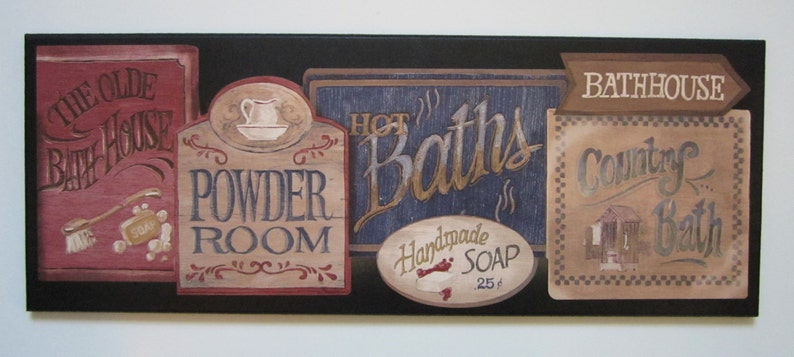 Bathroom Powder Room Wall Decor Plaque Country Bath Lodge Etsy