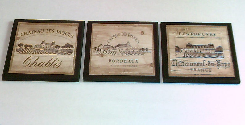 Wine Crate Label Style Kitchen Wall Decor Plaques 3pc French image 0