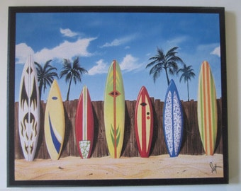 Surfboards and Fence Beach Wall Decor Plaque surfing theme picture