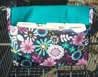 Coupon Organizer Holder Turquoise and Purple Floral Fabric with Turquoise Lining
