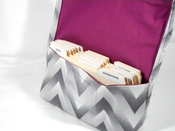 Coupon and Purse Organizer Holder Chevron in Gray Ombre