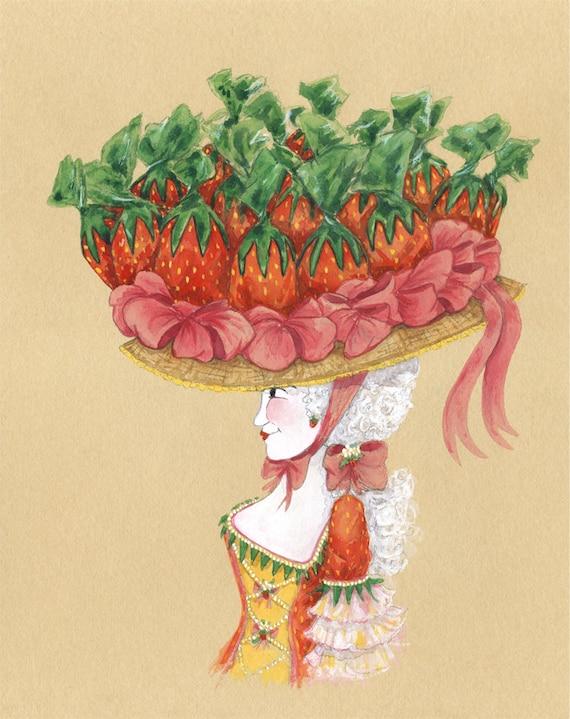 Bonbons Kunst Candy Aquarell Erdbeer Bonbons Bild Erdbeeren | Etsy