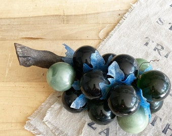 Vintage MCM Lucite Grape Bunch Blue and Green