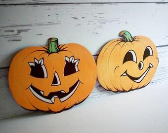 2 Vintage Beistle Halloween Jack o Lantern Diecuts Party Decoration Wall Decor