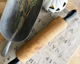 Vintage Wooden Rolling Pin with Black Painted Handles