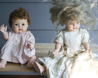 Vintage Dolls American Character Tiny Tears and Composition String Shirley Temple with Teeth