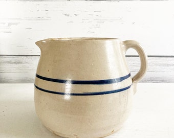 Vintage Farmhouse Milk Pitcher Rustic Stoneware Pottery with Blue Bands