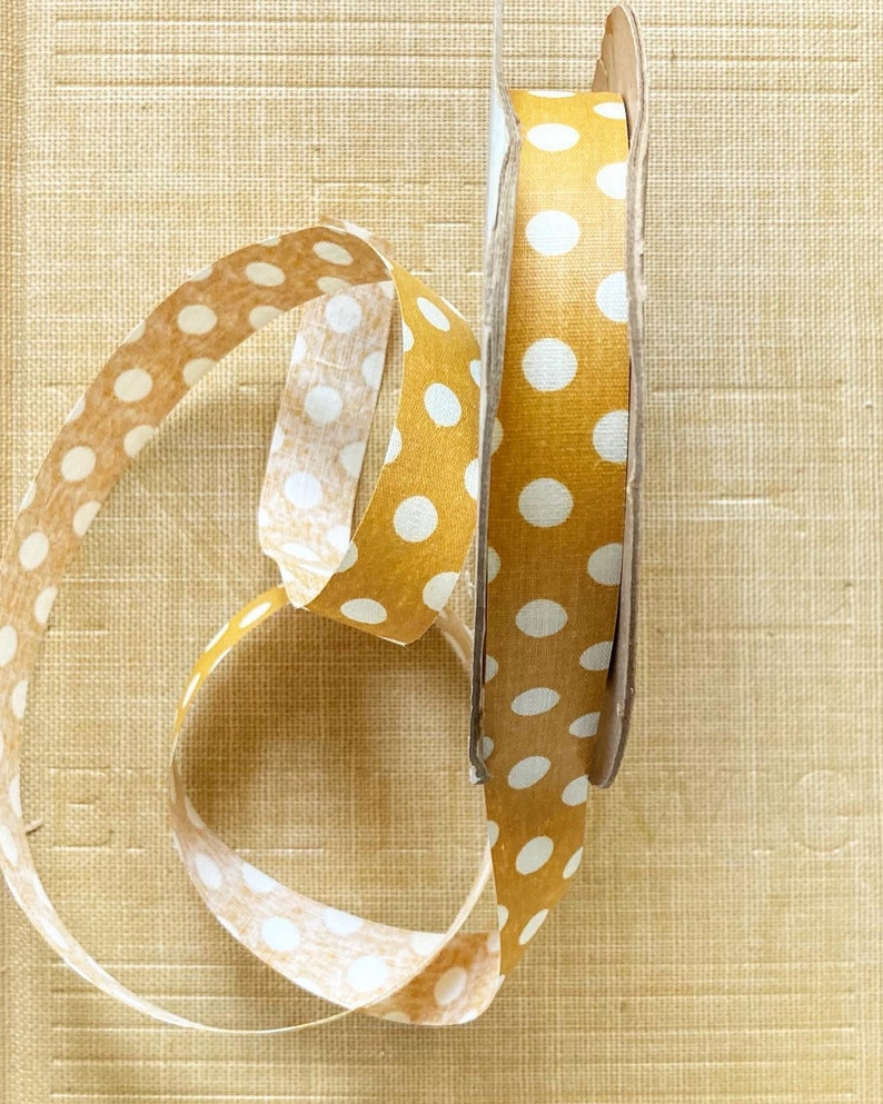Vintage Mustard Yellow and White Polka Dot Florist Ribbon for Easter Spring Summer Crafts