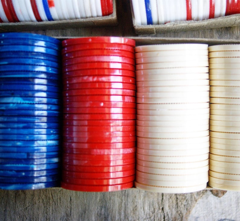 Vintage Plastic Poker Chips 3 Boxes Red White and Blue Game Pieces