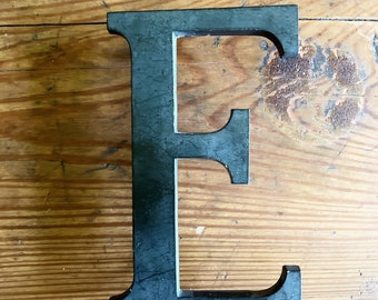 Vintage Metal Signage Letter H Gunmetal Gray on Aluminum 6 In Tall Wall Decor Monogram Initial