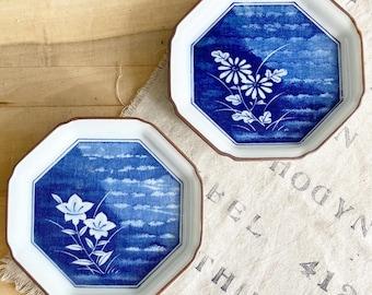 Vintage Fitz and Floyd Japan Cobalt Blue Asian Floral Decorative Plates Octagon Shaped