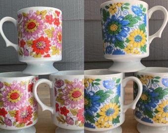 Vintage 1970s Retro Coffee Mugs Set of 6 Pedestal Cups Blue and Pink Floral