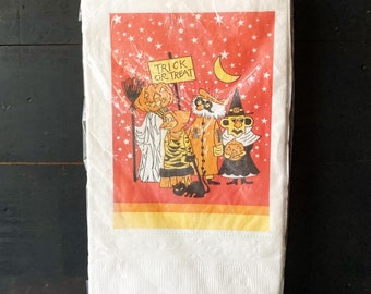 Vintage Halloween Paper Tablecloth 1970s Era Peanuts Inspired Party Decoration Trick or Treaters Table Decor