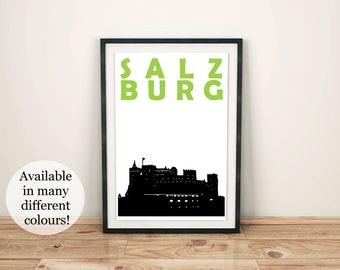 Salzburg Print // Austria Print // Salzburg Art // Austria Poster // Salzburg Poster // Austria Art // Austrian Gift // Best Friend Gift