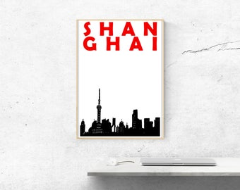 Shanghai Print // Shanghai Skyline // China Print // Shanghai Poster // China Art // Shanghai Art // China Poster // Chinese Art